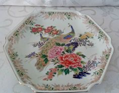 Beautiful Six Sided Sato Gordon Collection Plate / Bowl with Peacock and Gold Gilting in Lovely Colorful Mums / Asian Style Made in Japan by LostTreasurebyLynn on Etsy