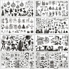 9Pcs/lot 6*12CM Christmas&Halloween Pattern Nail Stamping Plates Image Konad Stamping Nail Art Manicure Template Nail StampTools