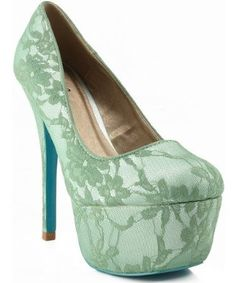 Qupid Psyche-35A Floral Lace Colored Bottom Round Toe Platform Pump SAGE GREEN,