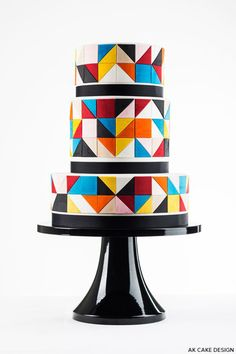 A color block cake design that is graphic and bold. A post by contributing writer, Allison Kelleher of AK Cake Design. Gorgeous Cakes, Pretty Cakes, Amazing Cakes, Unique Cakes, Creative Cakes, 16 Inch Cake Stand, Geometric Cake, Geometric Wedding, Geometric Tiles