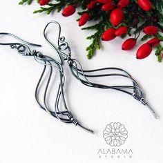 Black swan II  unique sterling silver earrings dangling