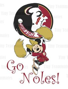Minnie Inspired Cheerleader Florida State Seminoles - DIY PRINTABLES - All Teams Available - Perfect for Iron on transfer