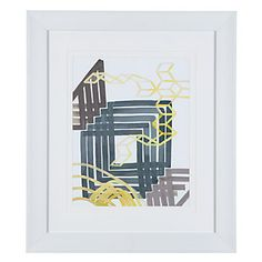 Originally created with gouache on paper, our Yellow Eminence  Series features crisp hues of lemon and charcoal taking form in repetitive, linear shapes.