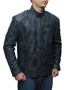 Star Wars The Force Awakens Fighter Black Leather Jacket at Amazon Men's Clothing store: