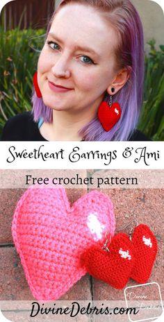 Sweetheart Earrings or Amigurumi free crochet pattern on DivineDebris Amigurumi Patterns, Crochet Patterns, Crochet Ideas, Thread Crochet, Crochet Hooks, Free Knitting, Free Crochet, Crochet Fashion, Jewelry Patterns
