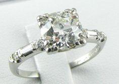 1.81ct Diamond 1920s Platinum Vintage Engagement Ring