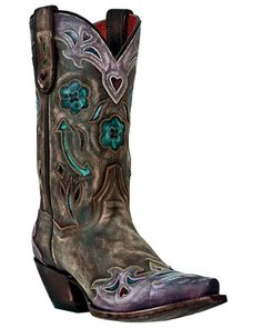 """Dan Post Womens Brown Sanded Leather Vintage Arrow 11"""" Cowboy Boots"""