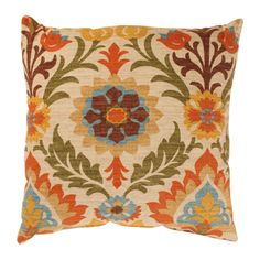@Overstock - Add a cheerful accent to your furniture with this decorative orange throw pillow. The 18-inch square pillow features a Spanish-style floral pattern in vivid fall colors that will brighten any room in your home. Spot cleaning is advisable.http://www.overstock.com/Home-Garden/Pillow-Perfect-Santa-Maria-18-inch-Adobe-Throw-Pillow/7213449/product.html?CID=214117 $35.49