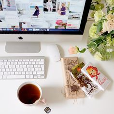 Morning workspace - tea and chocolate presents//