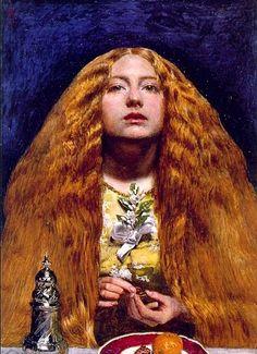 < 신부들러리 >, 존 에버렛 밀레이 (1829-1896). 오렌지 빛 머리칼이 폭포수처럼 떨어진다. 어딘가 허공을 보는 아름다운 여인의 얼굴은 몽환적인 느낌이 피어오른다.     손으로 뭘 하고 있는걸까? 영국에서는 케익조각을 결혼반지에 아홉 번 통과시키면 미래의 남편을 볼 수 있다는 미신이 있었다고 한다. 여인은 낭군을 보려고  케익과 결혼반지를 만지며 시도해보고 있는 것이다!     기대에 부풀어 있는 것인지 볼이 발그레하다. 일렁이는 불꽃처럼 흘러내리는 머리카락처럼 여인의 마음은 일렁이고 있다. 가슴에 단 흰 꽃은 순수와 순결을 뜻한다.
