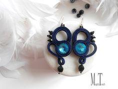 'Blink' ooak soutache earrings, artistic earrings, jewelry artwork, original design, modern earrings, dangle earrings, art nouveau earrings, blue earrings