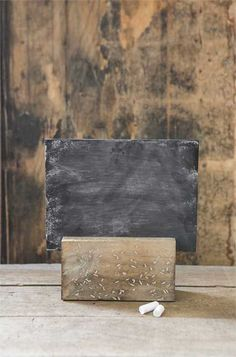 Looking for rustic wedding decorations or chalkboards to complete the look for your reception? Check out this adorable chalkboard with a wood holder. Wedding chalkboards are perfect for displaying unique wordage, dinner choices, drink selections, love quotes, and more! #diywedding