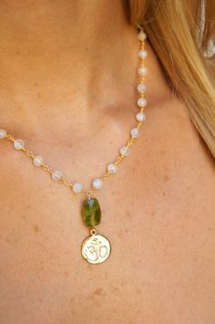 Peridot Necklace .  Peridot Gemstone . Vermeil Om Pendant . Moonstone Beads Gem Necklace . Wedding Gifts . Reiki Jewelry . Spiritual Gift by AlexandraCabri on Etsy https://www.etsy.com/listing/211394560/peridot-necklace-peridot-gemstone
