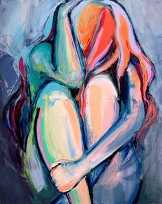 Emotional female nude painting painted with a palette knife in pure oil paint on canvas in subdued hues with pops of color here and there.