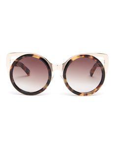 Erdem X Linda Farrow Cat-eye Sunglasses In Tonal-brown Tortoiseshell Tortoise Shell Sunglasses, Round Sunglasses, Sunglasses Women, Brown Glasses, Cat Eye Glasses, Linda Farrow Sunglasses, Tortoise Cat, Cat Eye Frames, Kate Bosworth