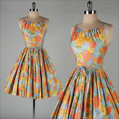 vintage 1950s dress . ILENE RICKY . polished cotton floral print . 3517 on Etsy, $145.00