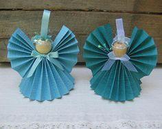Angel de papel turquesa / decoración de la Navidad papel azul sólida cinta Angel / regalo para el amante de Angel / luz Angel turquesa turquesa / oscurezca