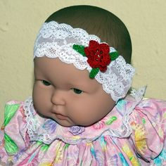 Infant headband with elasticized lace and by DandHspecialties $10.00