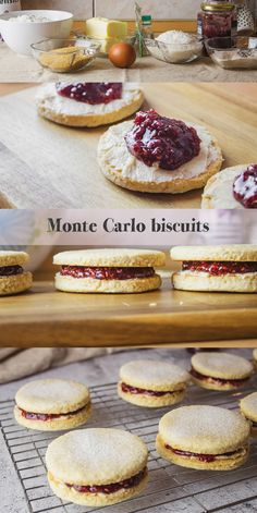 Homemade Monte Carlo Biscuits. Christmas sweets. Christmas recipes. Raspberry jam filled biscuits. Christmas Sweets, Christmas Recipes, Monte Carlo Biscuits, Tofu, Quiche, Camembert Cheese, Caramel, Raspberry, Cheesecake