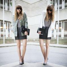 falda de cuero con saco