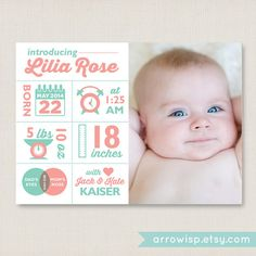 Infographic Birth Announcement / Customized Photo Card / for newborn baby girl & baby boy / A printable, personalized modern and cute card