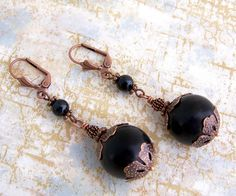 Black and Copper Victorian inspired Earrings or Pirate cannon ball earrings - Pirate Jewelry - Halloween Jewelry