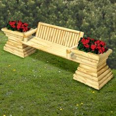 "Landscape Timber Garden Bench DIY Woodcraft Pattern #2188 - Sit and relax in this beautiful garden bench made completely from landscape timber. 36""H x 105""W x 27""D Pattern by Sherwood Creations #woodworking #woodcrafts #pattern #yardart #crafts #landscape #bench #planter"