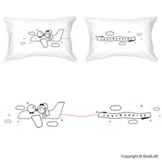 """They told me to keep my head out of the clouds, and my feet firmly planted on the ground. But now that I'm just married to you, I don't think I'll ever come back down!"" Celebrate lifelong romance with BoldLoft's unique and creative wedding gifts for bride and groom. ""Just Married"" Couple Pillowcase Set. $36.00 via BoldLoft."
