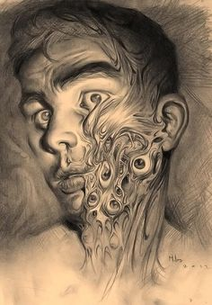'Leaking' - Miles Johnston {contemporary artist #surreal male man grotesque drooping eyes face portrait b+w drawing} #surrealism