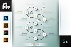 Modern Infographic Process Template. Gradients Photoshop. $5.00