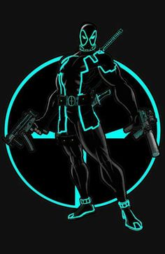 (Deadpool cross over Tron.) By: Rudy Chavez. Comic Book Characters, Marvel Characters, Comic Character, Character Design, Comic Books, Deadpool Funny, Deadpool Love, Deadpool Stuff, Mundo Marvel
