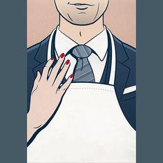 #kissthecook #illustration #vector #vectorart #graphicdesign #suit #gentleman #chef #cook #kitchen #rednails #tie #smile #smirk #character #people #love #attraction #couple