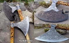 GENJA... An authentic viking battle axe, made entirely in the historic manner used a millenia ago!!! http://shop.grimfrost.com/en/premium-items/genja-the-berserker-s-axe.html Watch the promo video, please: https://www.youtube.com/watch?v=RsWL_AjW02k