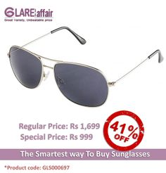 Farenheit Superb FA931 Silver Grey Aviator Sunglasses http://www.glareaffair.com/sunglasses/farenheit-superb-fa931-silver-grey-aviator-sunglasses.html Brand : Farenheit  Regular Price: Rs1,699 Special Price: Rs999  Discount : Rs700 (41%)