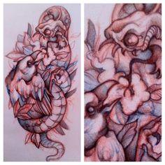 Snake & Raven Tattoo Sketch