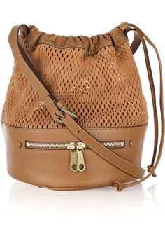 Chloé - Charlie perforated leather bucket bag, in tan, was €995
