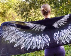 Black Angel Wings Scarf, 100% Cotton Scarves, Free Wings, Shawls Wraps, Wraps Scarfs Girls, Dress Scarf, Feather Scarf, Young Fashion Wraps