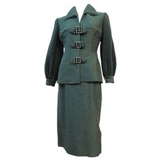 Lilly Ann 40s Silk Skirt Suit w/ Micro-Pleated Sleeves!   From a collection of rare vintage suits, outfits and ensembles at https://www.1stdibs.com/fashion/clothing/suits-outfits-ensembles/