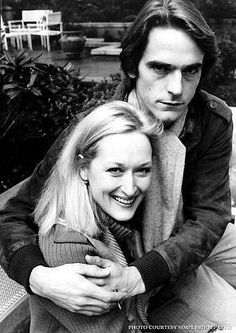 Meryl Streep with Jeremy Irons on the set of French Lieutenant's Woman in 1981