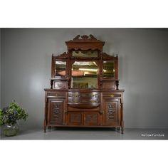 Large Victorian Walnut Mirror Back Sideboard, Victorian Mirror, China Cabinet, Antique Furniture, Sideboard, Antiques, Home Decor, Antiquities, Antique