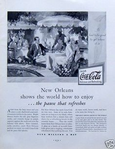 1930 Vintage Ad Coca Cola Coke New Orleans Courtyard Cafe Refreshing Cold Drink | eBay