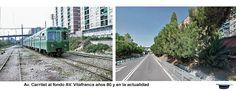 Santa Eulalia, Av. carrilet al fondo Av. Vilafranca años 80 y en la actualidad