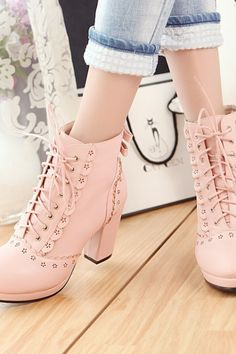 Lovely lace up solid color high heels boots 7150623