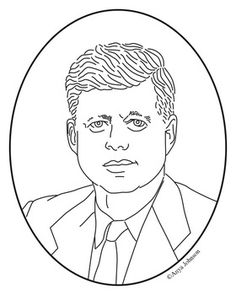 john f kennedy clip art coloring page or mini poster