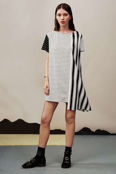 striped dress with black boots