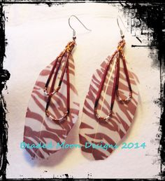 printed feather & porcupine quill earrings ~ https://www.facebook.com/pages/Beaded-Moon-Designs/229870373249