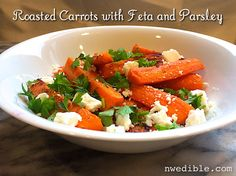 Roasted Carrots with Feta and Parsley - fast and easy side dish that tastes awesome!