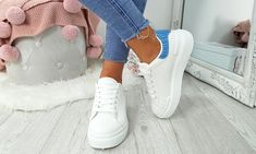 Platform Contrast Heel Trainers Lace Up Trainers, Leather And Lace, Party Wear, Contrast, Platform, Stylish, Heels, Casual, Women