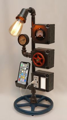23 Steampunk Tower Lamp with Night Light AC & USB Outlets Smartphone Charging Cradle Working Volt Meter Pressure Gauge Edison Bulb Lampe Industrial, Industrial Lighting, Vintage Industrial, Lampe Steampunk, Steampunk Furniture, Pipe Furniture, Industrial Furniture, Furniture Vintage, Furniture Projects