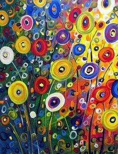 luiza vizoli | ... XXL Painting Whimsical Flowers GARDEN Fantasy Art by Luiza Vizoli